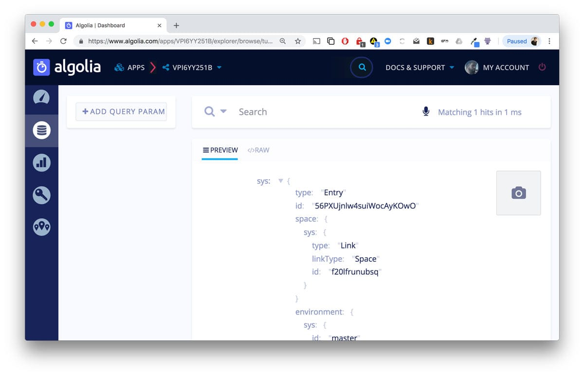 Algolia interface showing indexed Contentful metadata