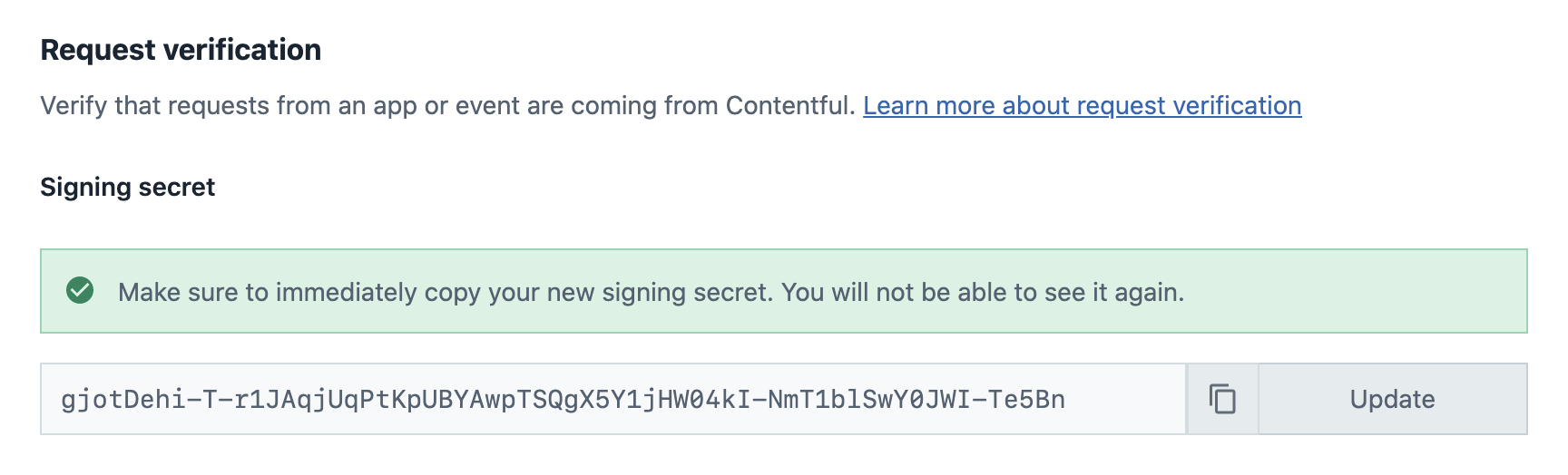 Generated signing secret