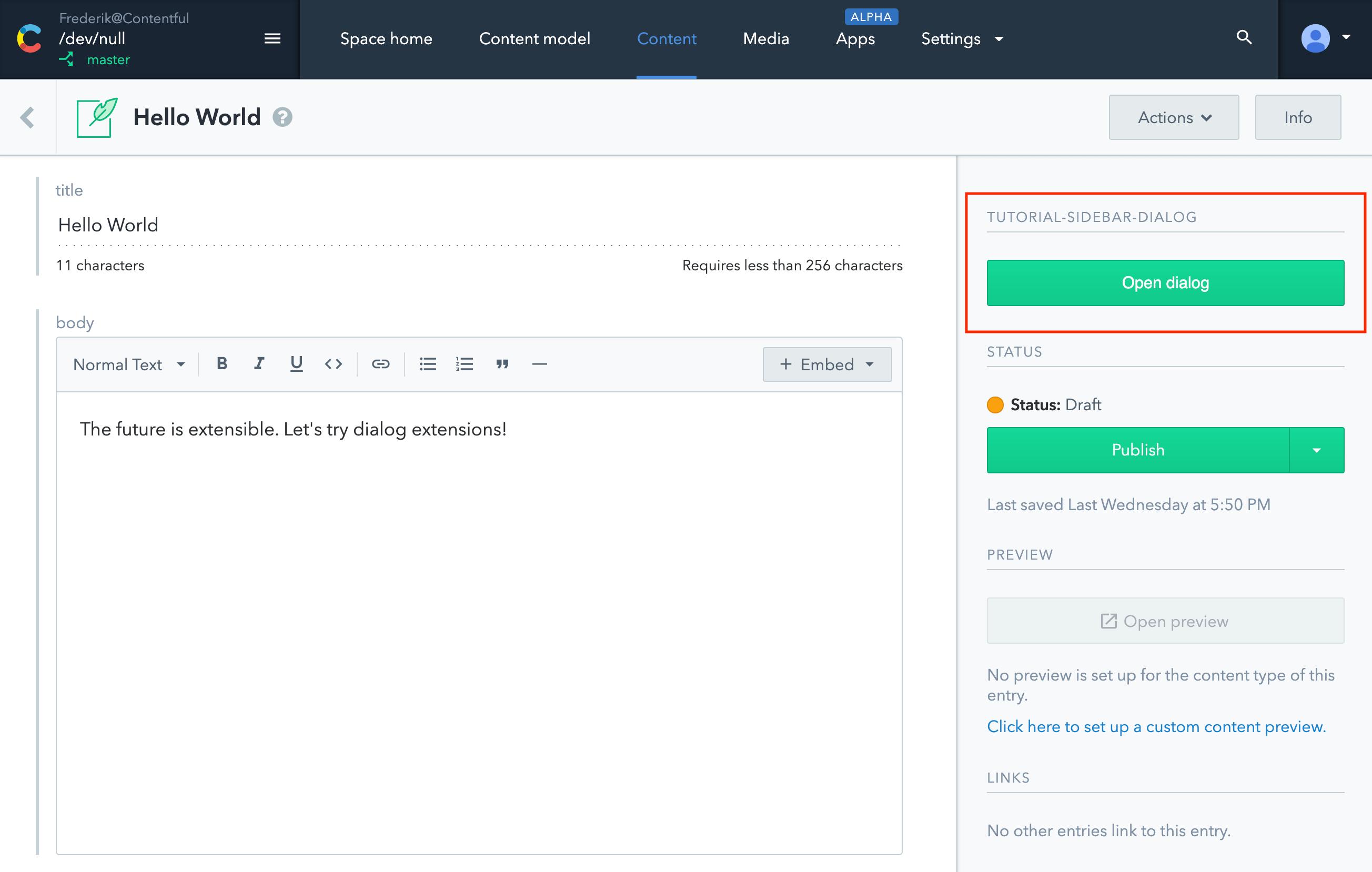 Apps Dialog